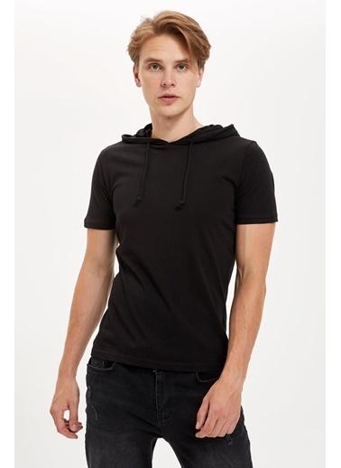DeFacto Kapüşonlu Kısa Kollu Boxy Fit Tişört Siyah